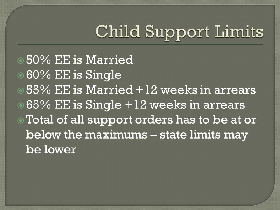 Child Support Limits 50% EE is Married 60% EE is Single