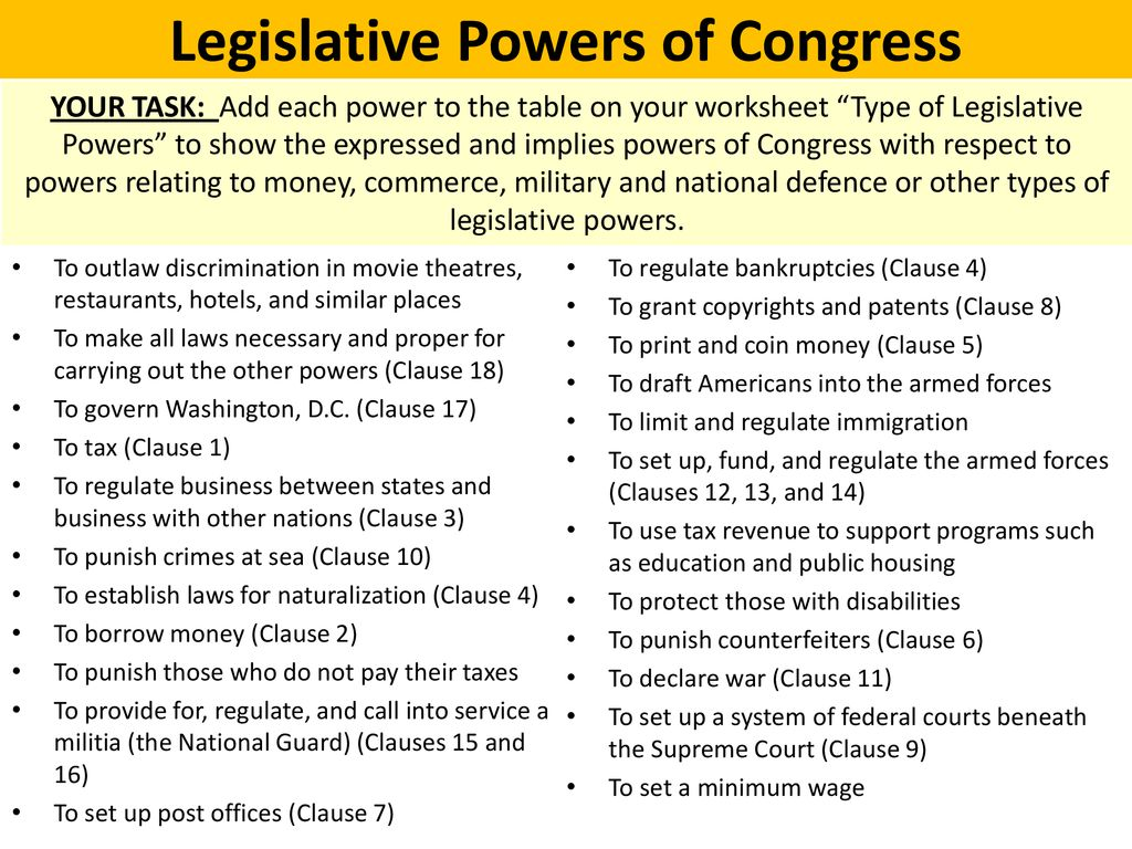 What powers does Congress have? - ppt download Throughout Powers Of Congress Worksheet