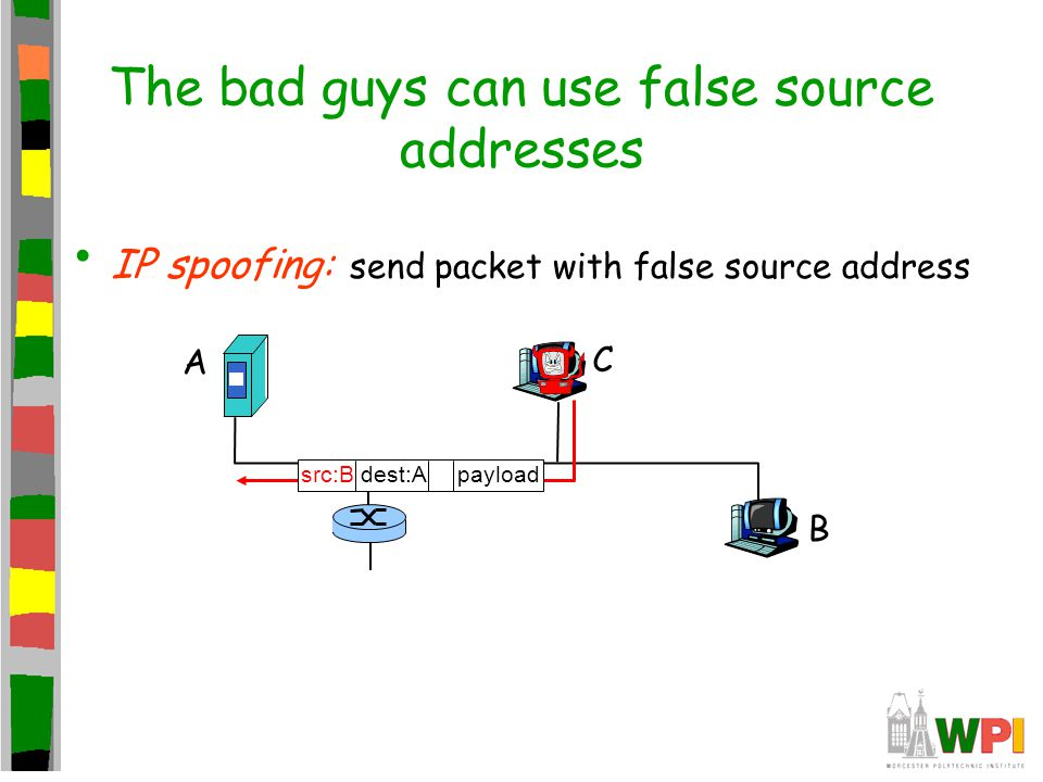 The bad guys can use false source addresses