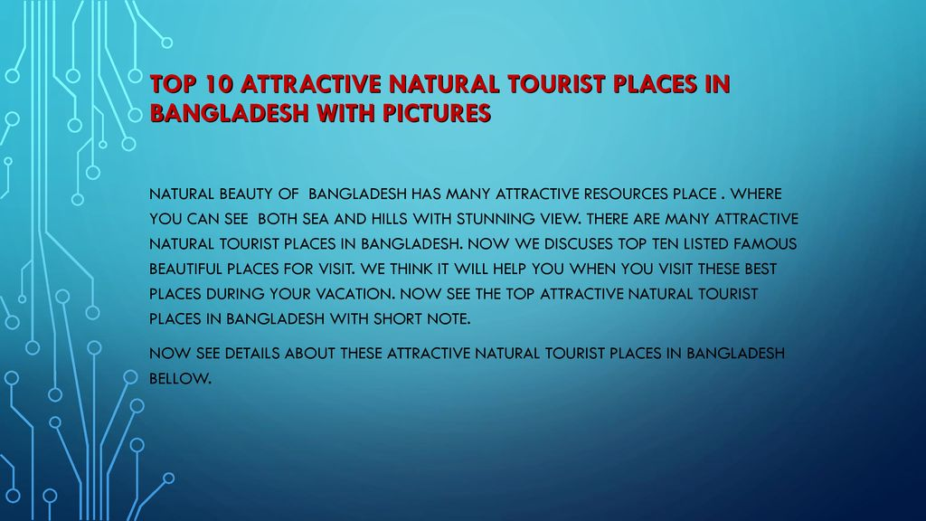 Top 10 attractive natural tourist places in Bangladesh with pictures