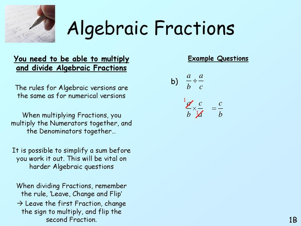 algebraic fractions. - ppt download