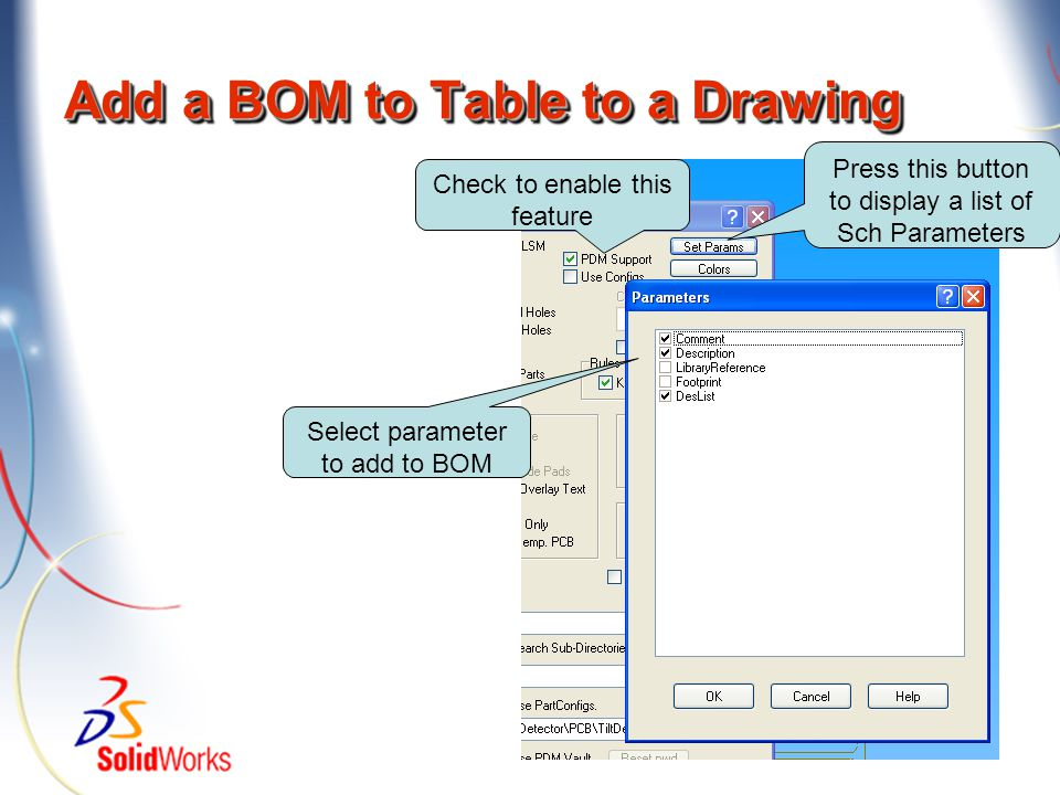 Add a BOM to Table to a Drawing