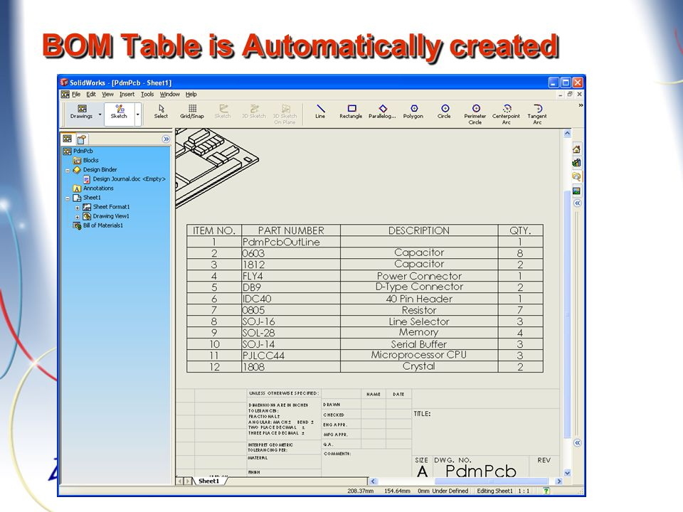 BOM Table is Automatically created
