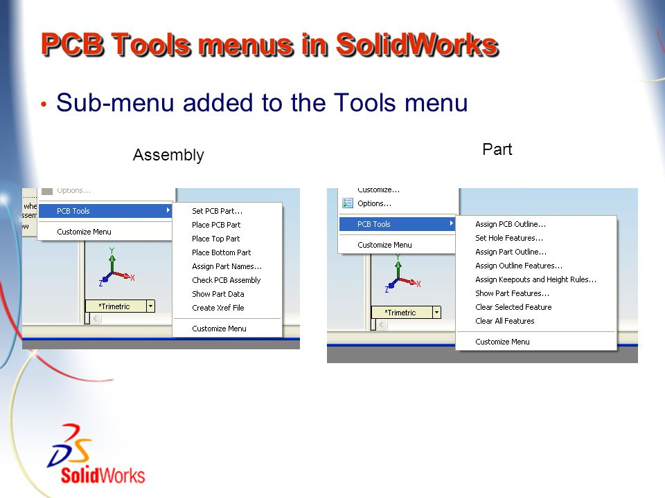 PCB Tools menus in SolidWorks