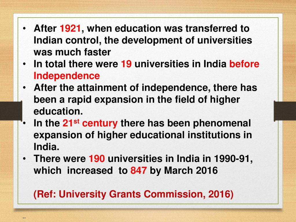 education before independence