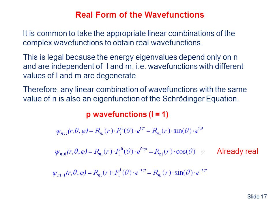Real Form of the Wavefunctions