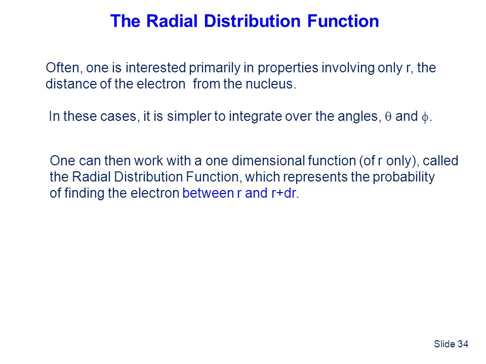 The Radial Distribution Function