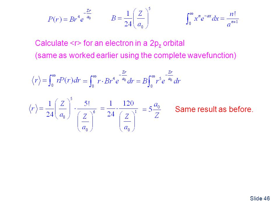 Calculate <r> for an electron in a 2pz orbital