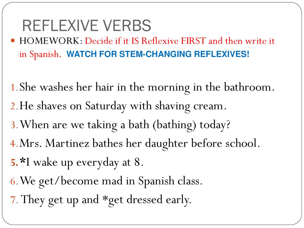 To go spanish reflexive verbs in sentences