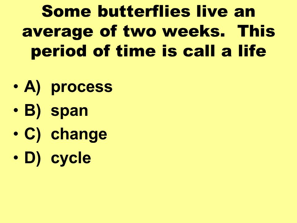 Some butterflies live an average of two weeks