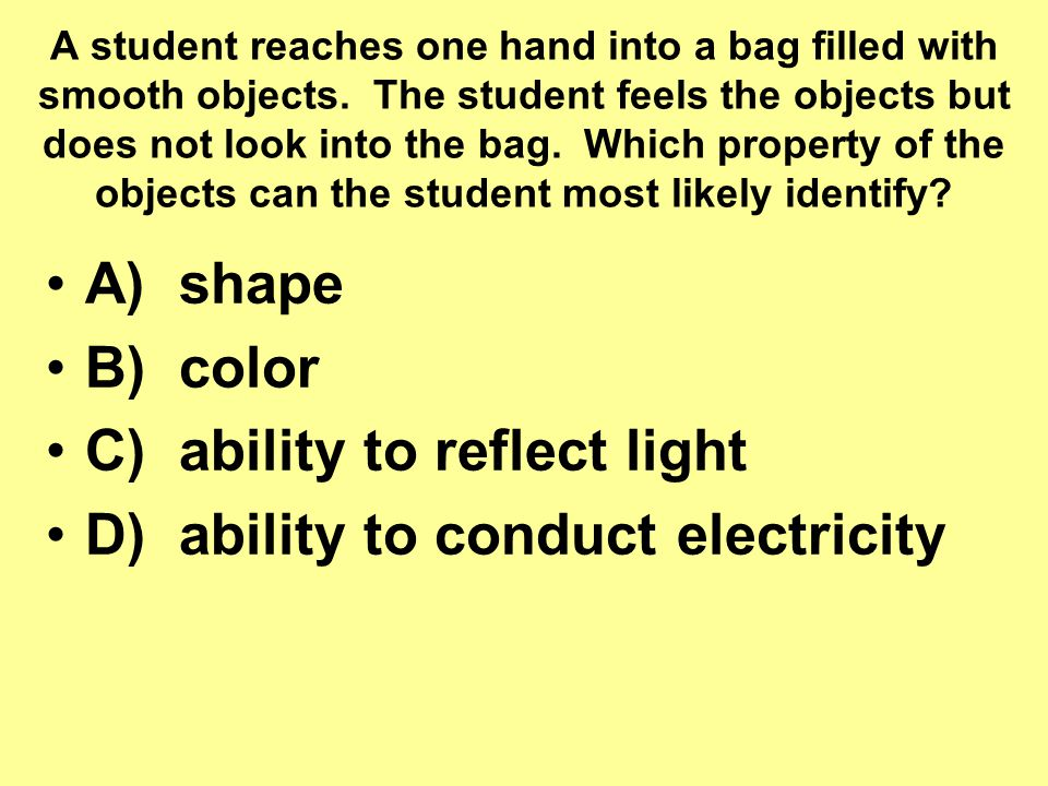 C) ability to reflect light D) ability to conduct electricity