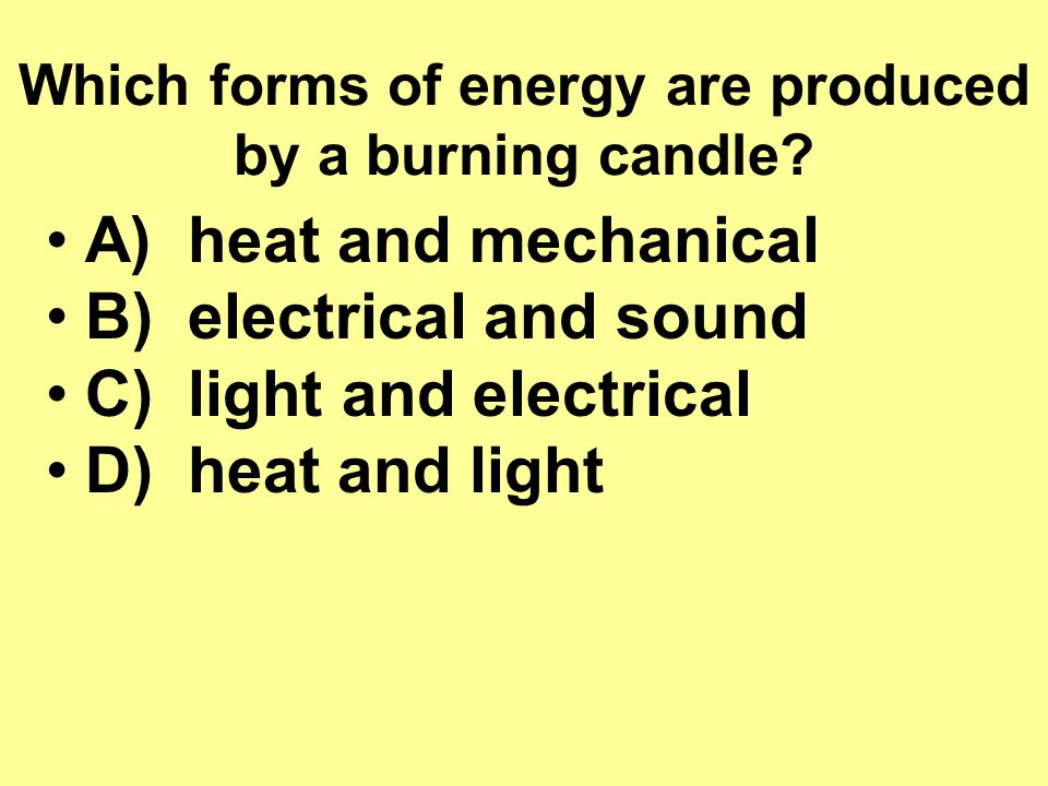 Which forms of energy are produced by a burning candle