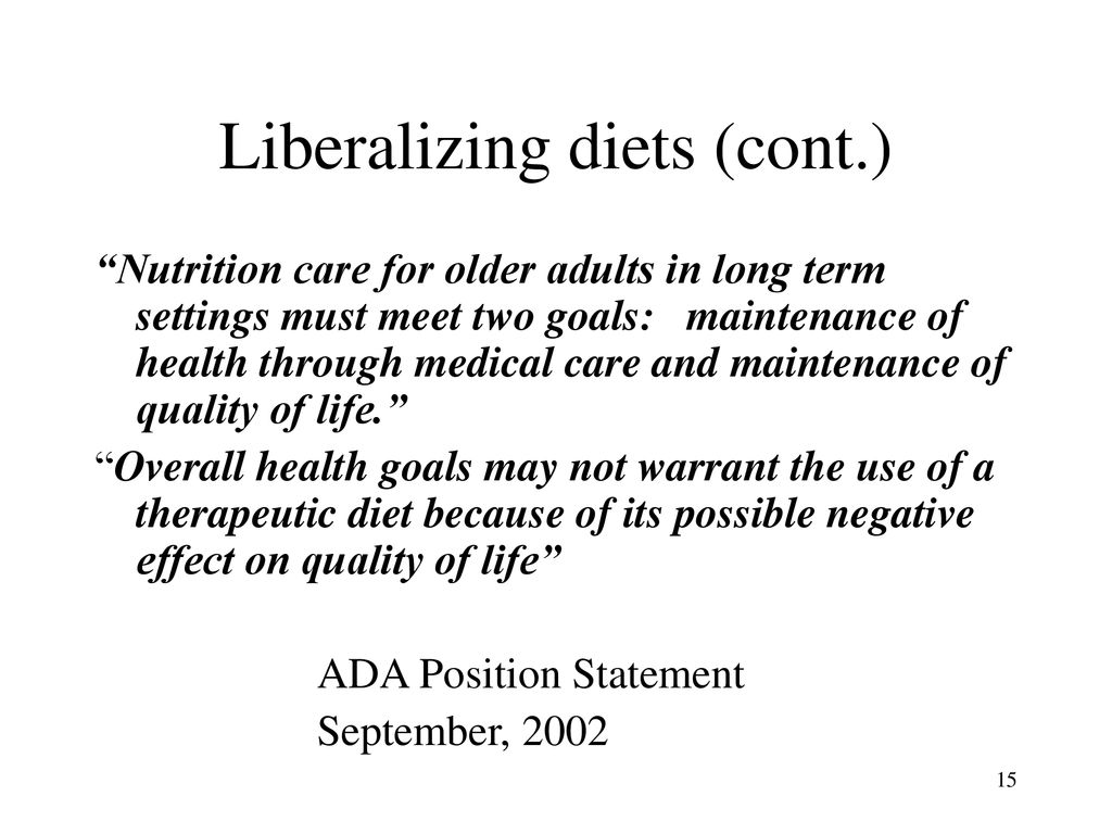 recommended therapeutic diets in long term care