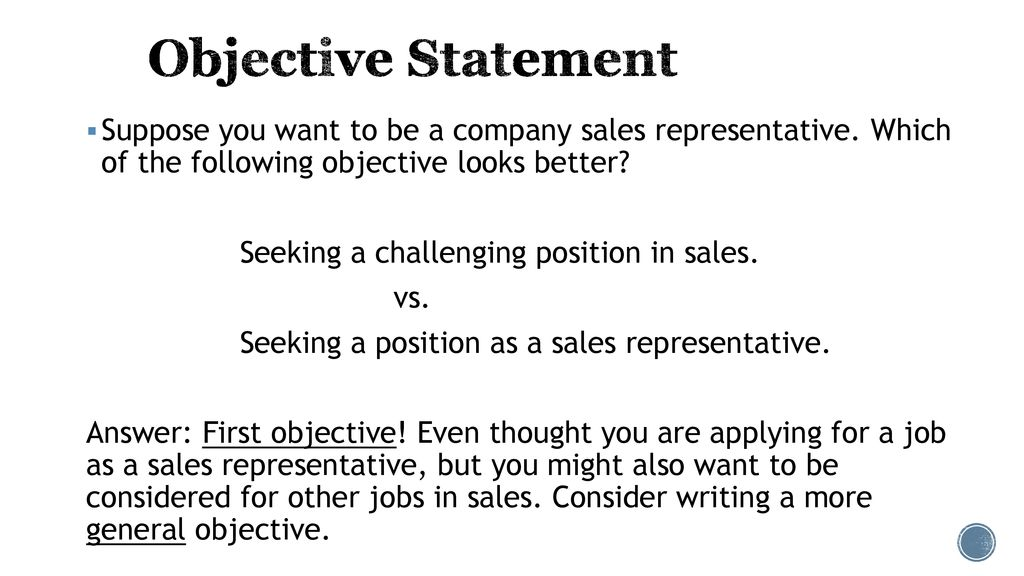 objective for applying for a job