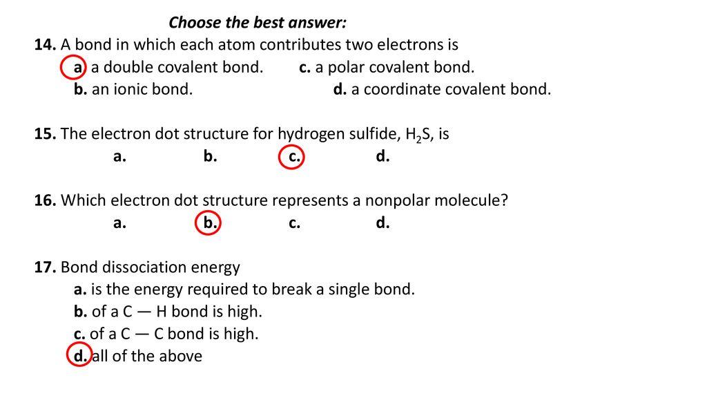 Chapter Exercises Chemical Bonds I Ppt Download