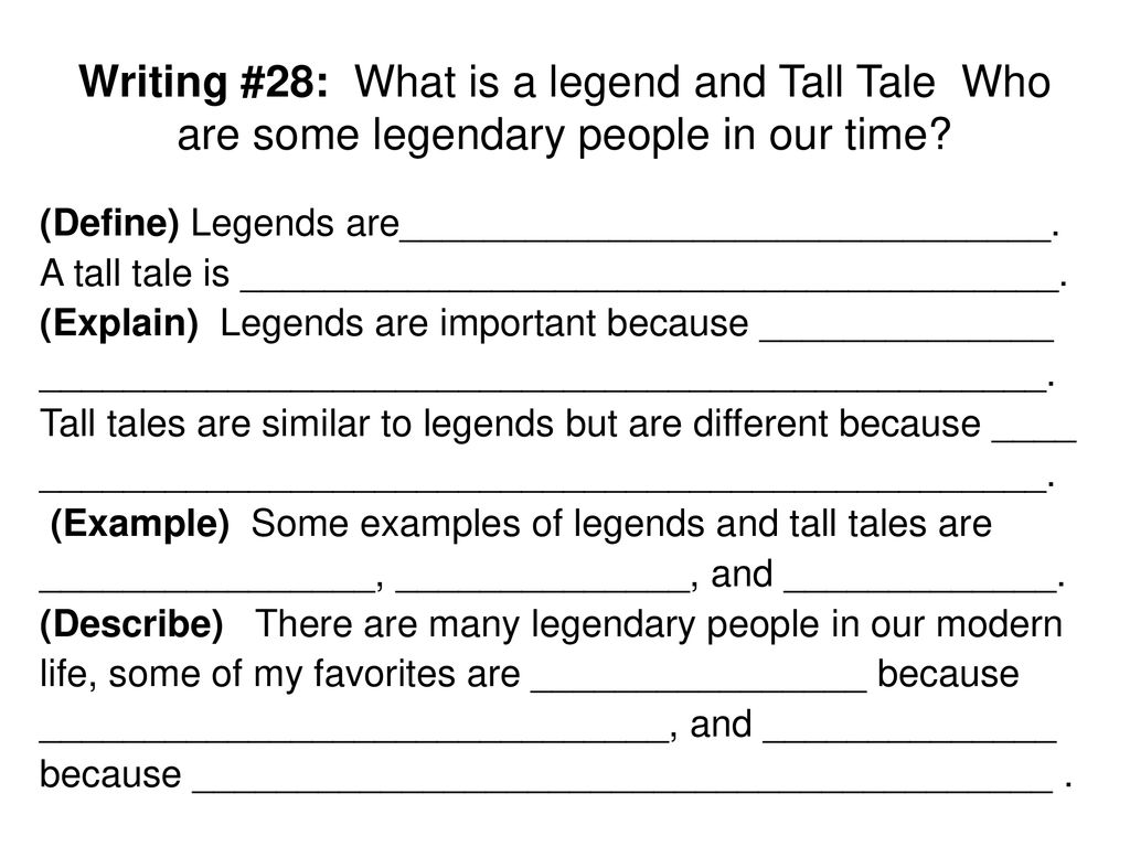"""28  LEGENDS & TALL TALES """"Legends are fantastic stories that"""