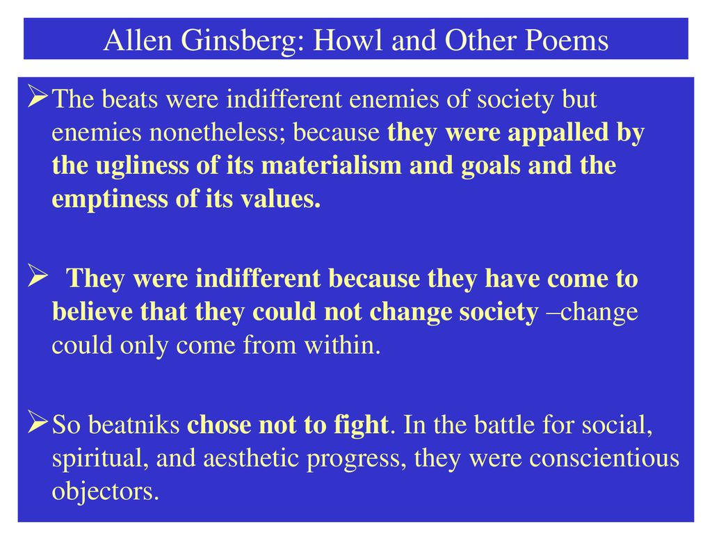 Howl and other Poems Allen Ginsberg Notes for Howl and other