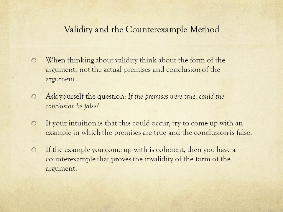 Validity and the Counterexample Method