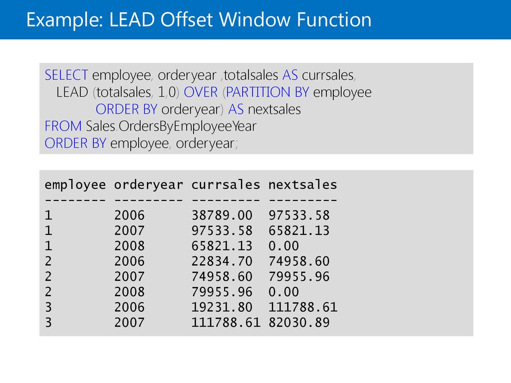 Using Window Ranking, Offset, and Aggregate Functions - ppt
