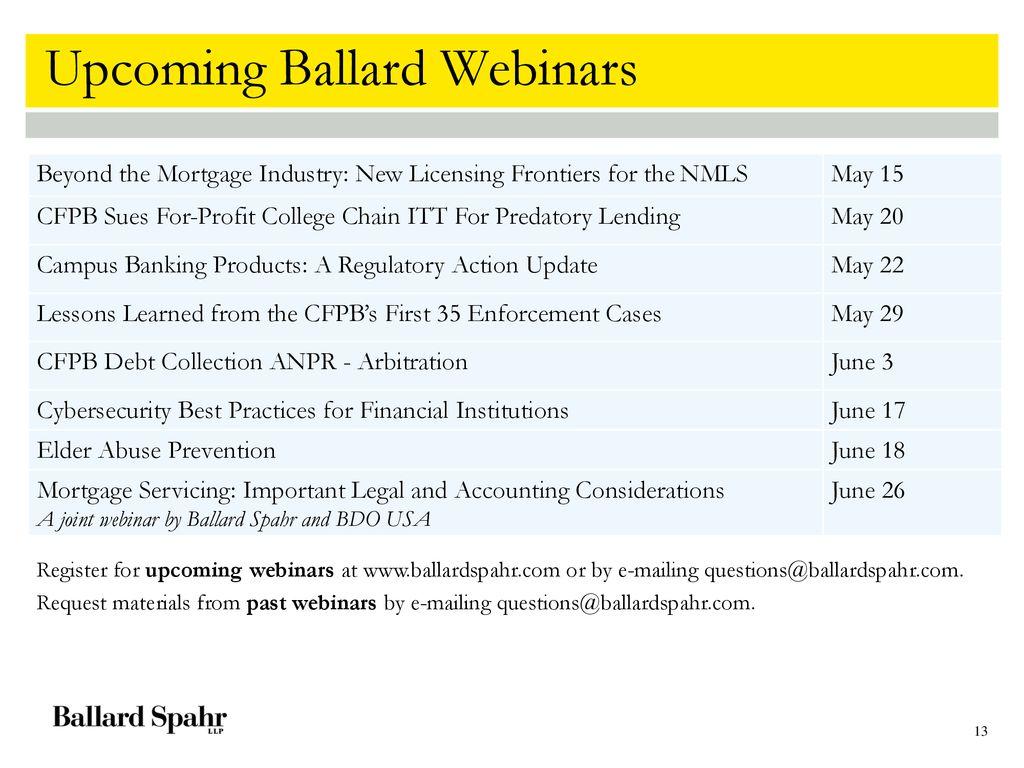 John L  Culhane, Jr CFPB's Mortgage Rules – Reading the Tea