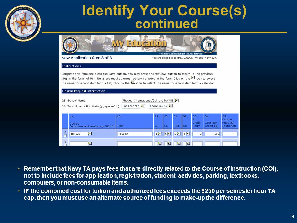 Identify Your Course(s) continued