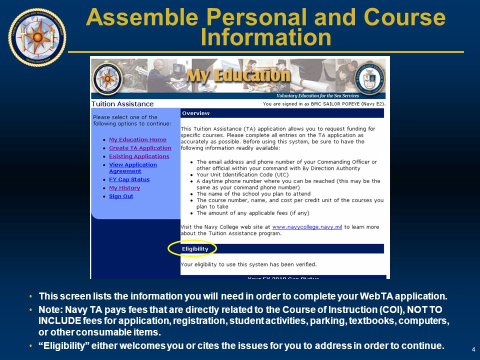 Assemble Personal and Course Information