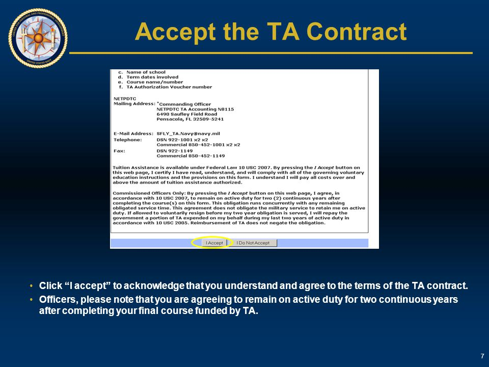 Accept the TA Contract Click I accept to acknowledge that you understand and agree to the terms of the TA contract.