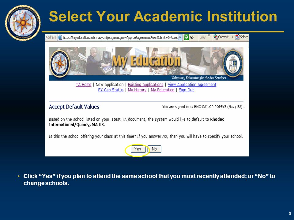 Select Your Academic Institution