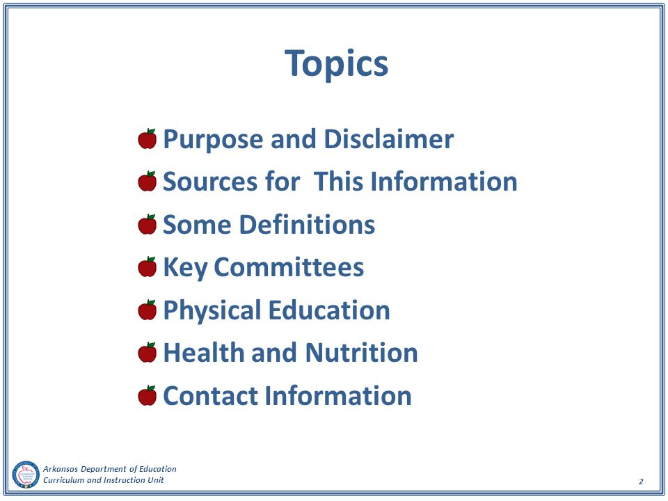 Topics Purpose and Disclaimer Sources for This Information
