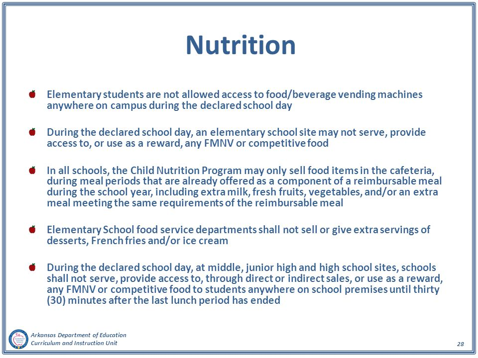Nutrition Elementary students are not allowed access to food/beverage vending machines anywhere on campus during the declared school day.