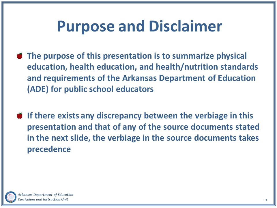 Purpose and Disclaimer