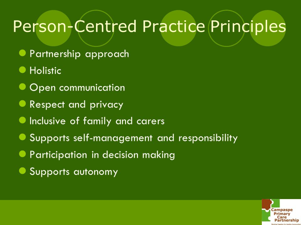 Person-Centred Practice Principles