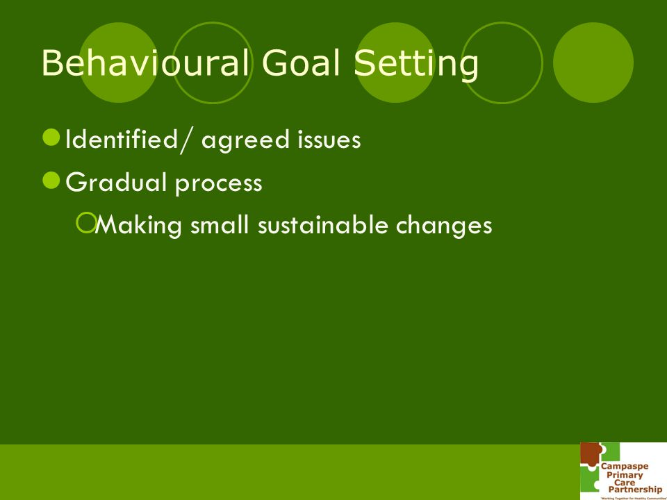 Behavioural Goal Setting