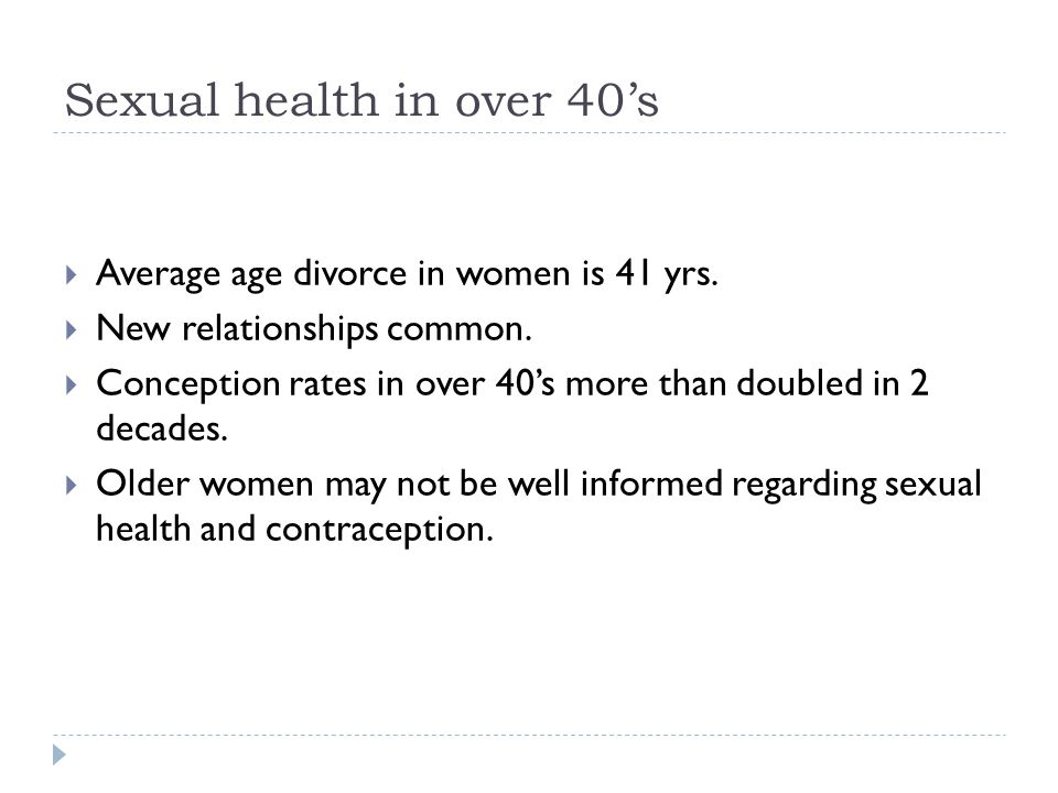 Sexual health in over 40's
