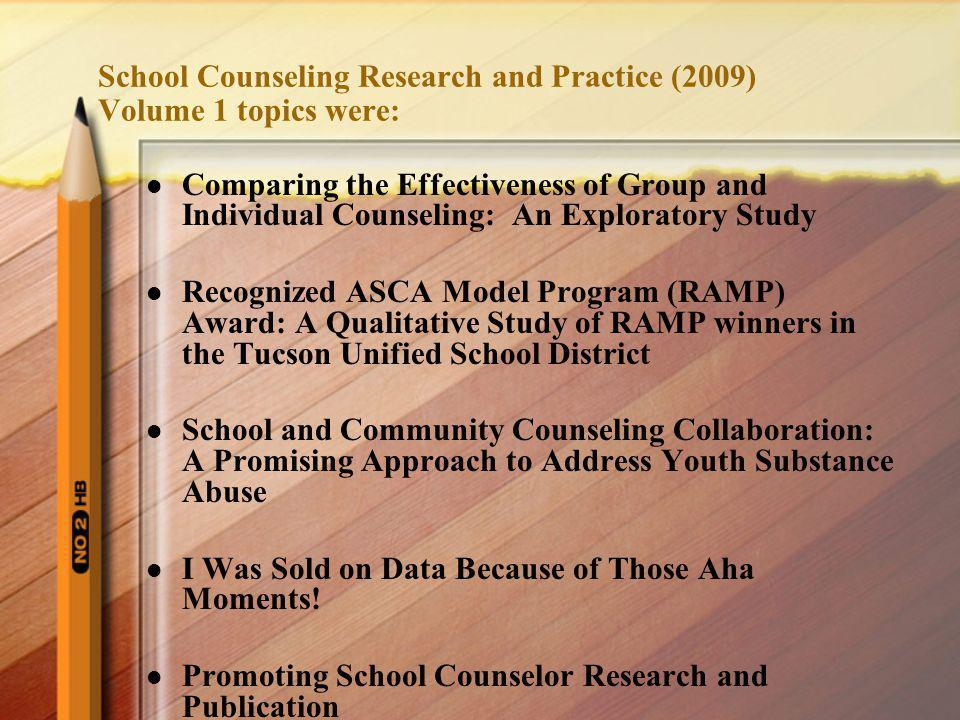 School Counseling Research and Practice (2009) Volume 1 topics were: