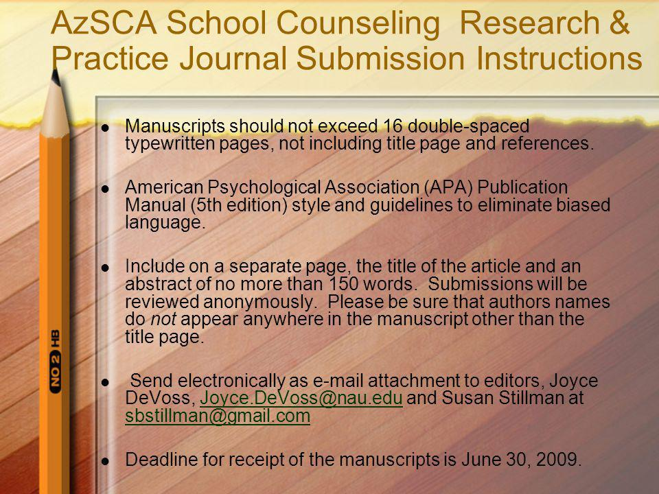 AzSCA School Counseling Research & Practice Journal Submission Instructions