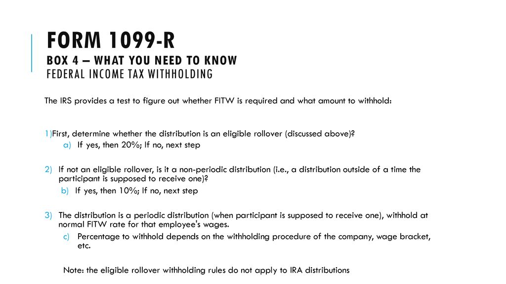 Irs form 1099 reporting: 1099-r reporting - ppt download