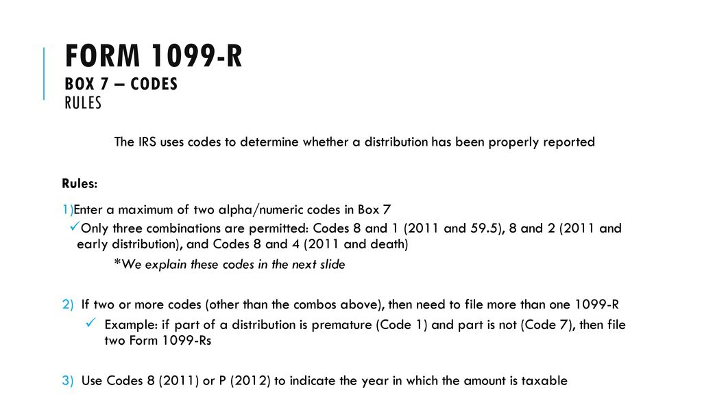 irs form 1099-r distribution code 1