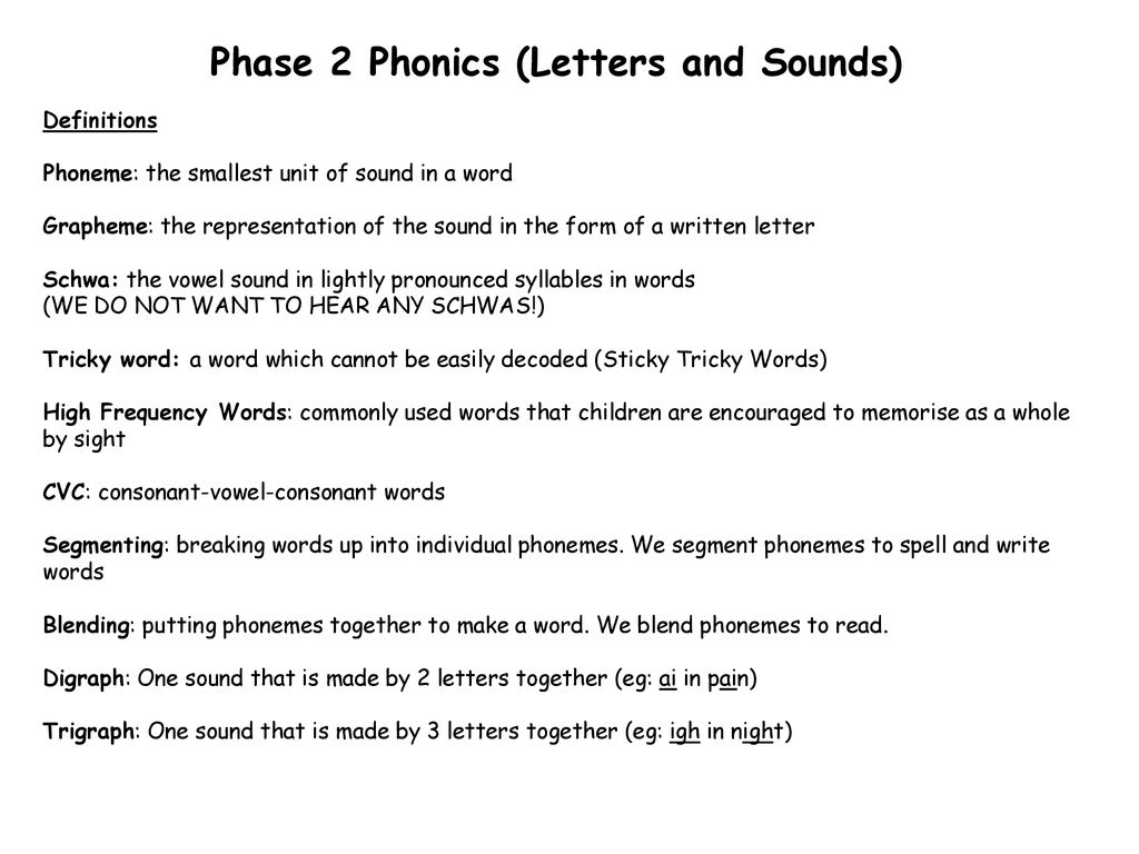 Phase 2 Phonics (Letters and Sounds) - ppt download