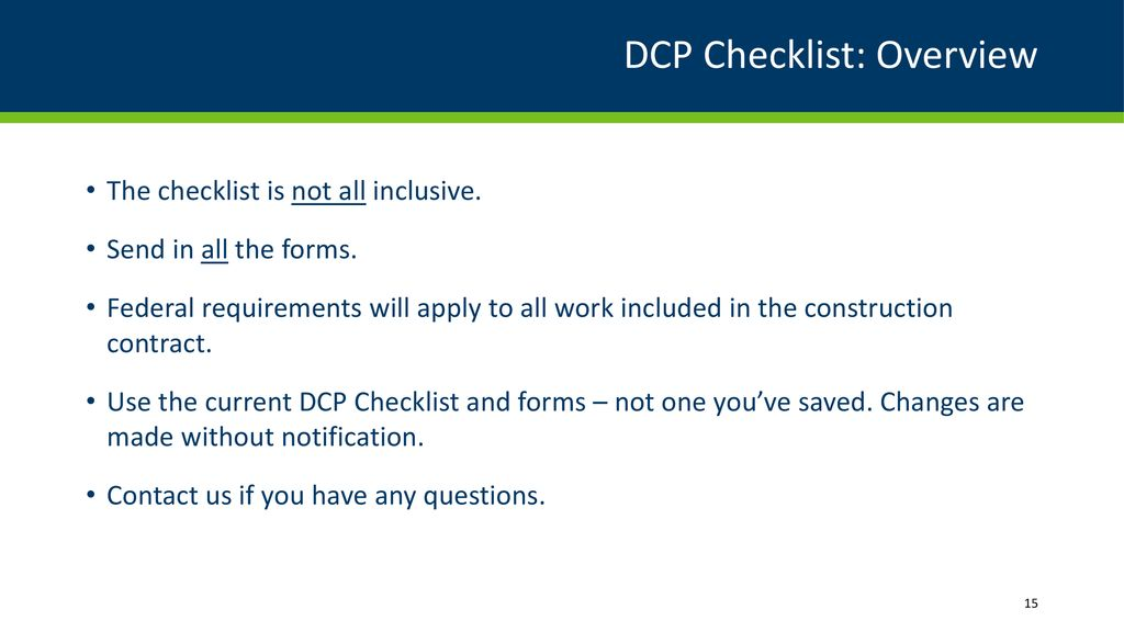 DCP Checklist for Local Agency Federal Aid Projects - ppt