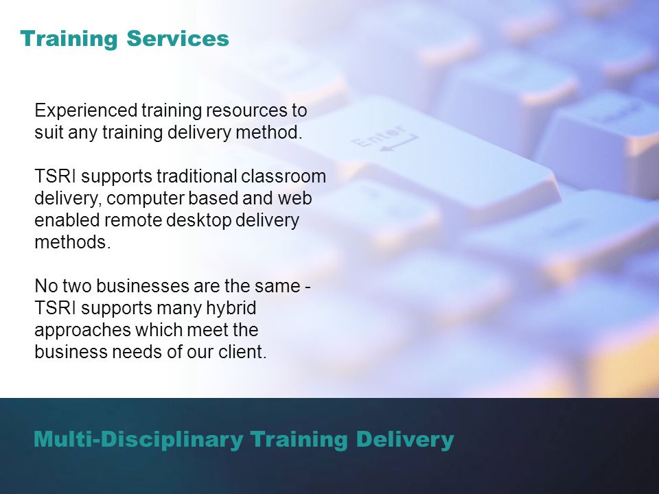 Multi-Disciplinary Training Delivery