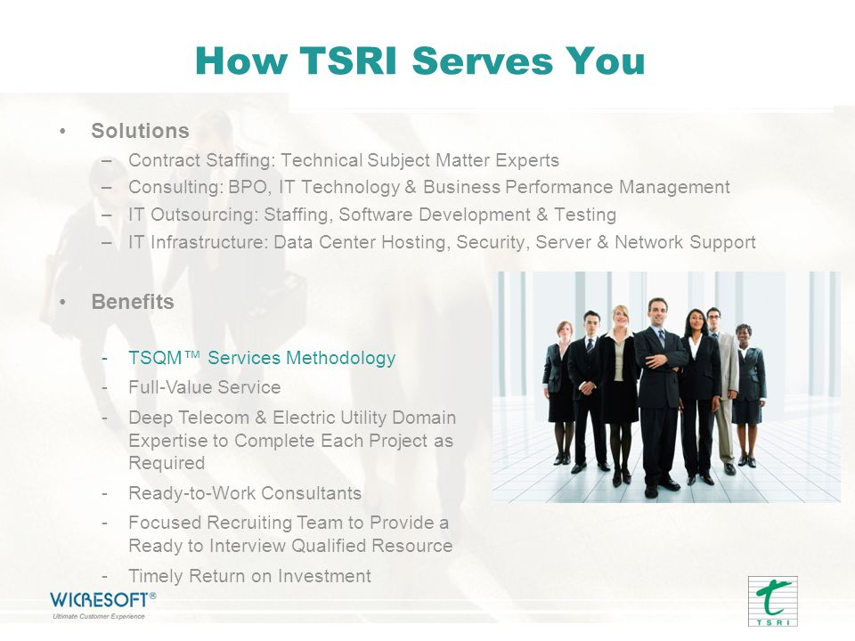 How TSRI Serves You Solutions Benefits