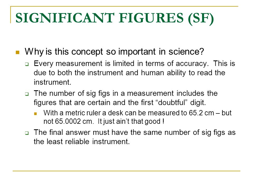 SIGNIFICANT FIGURES (SF)