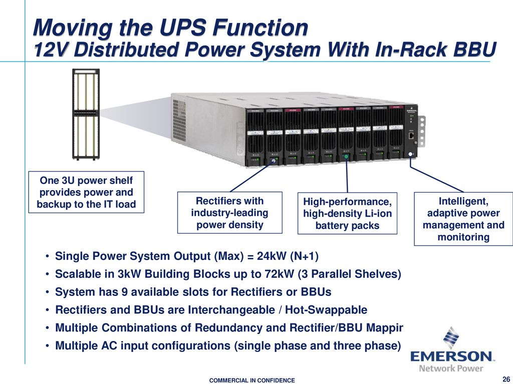 Power Configurations For Todays From Greenfields To Upgrades Ppt 3 Phase Ups Block Diagram Moving The Function 12v Distributed System With In Rack Bbu