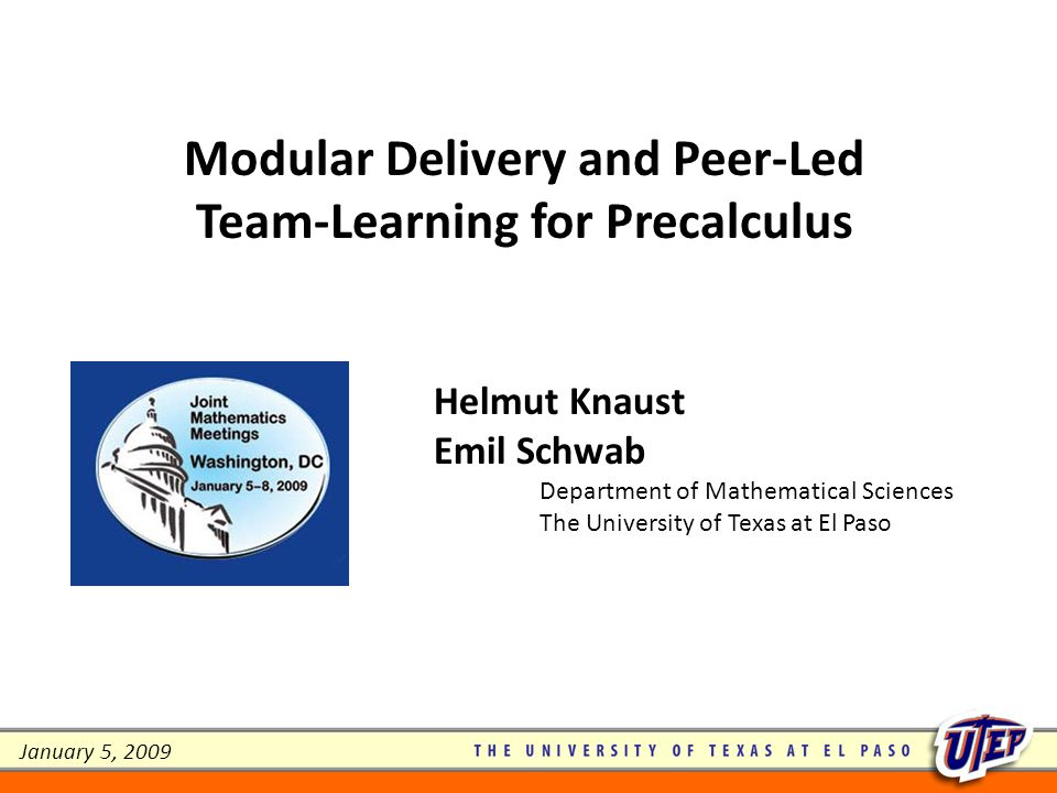Modular Delivery and Peer-Led Team-Learning for Precalculus - ppt ...
