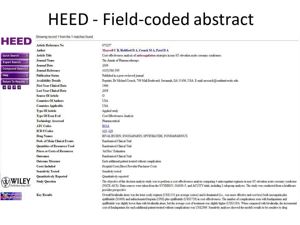 HEED - Field-coded abstract