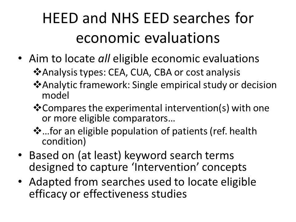 HEED and NHS EED searches for economic evaluations