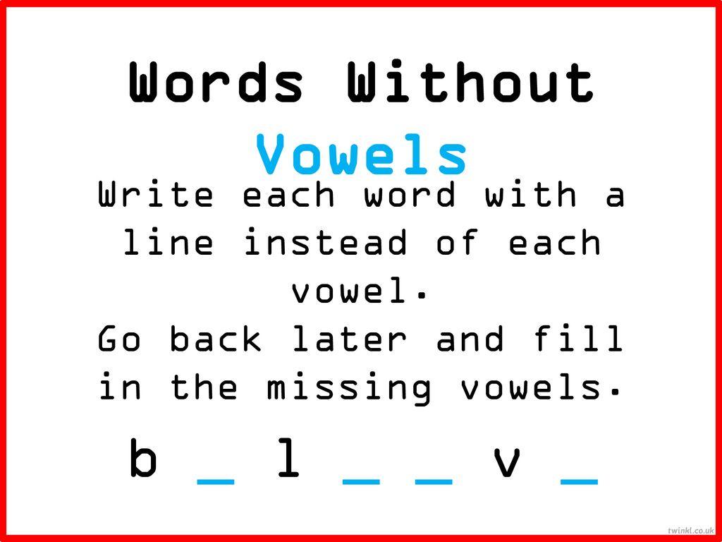 Imagenes De English Words Without A E I O U Y