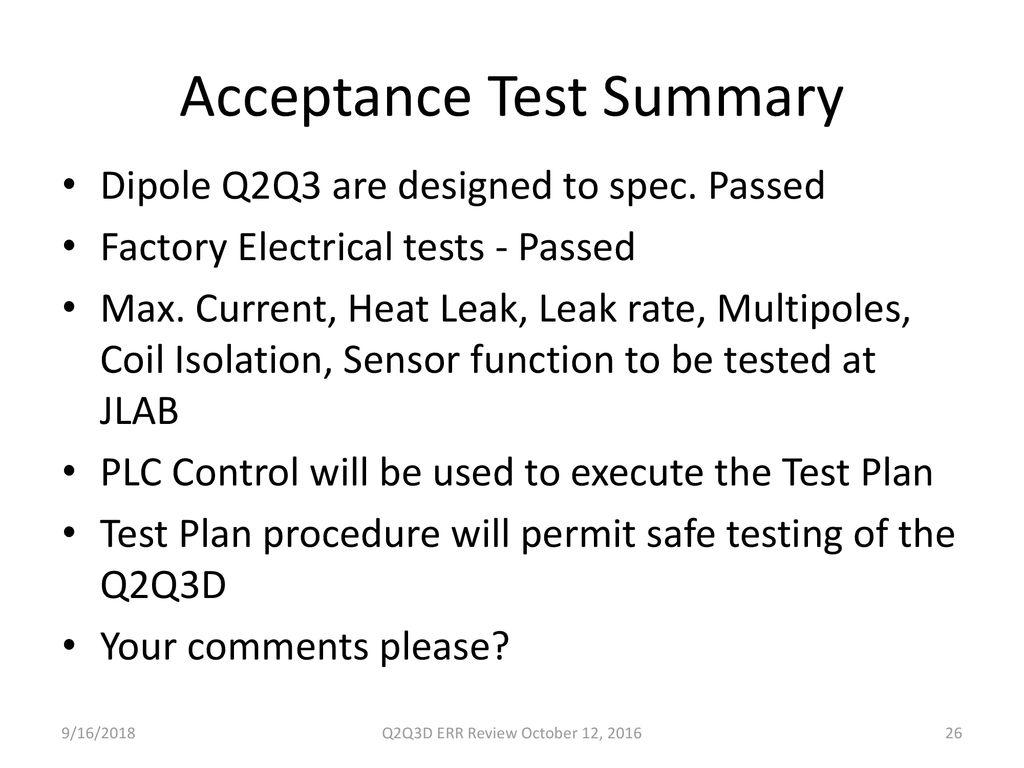 Acceptance Test Summary