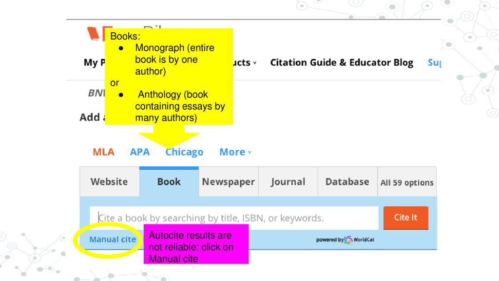 Library guide to using easybib with images and text sources ppt 13 books ccuart Gallery